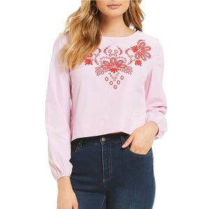 NWT Long Sleeve Embroidered Cremieux Top
